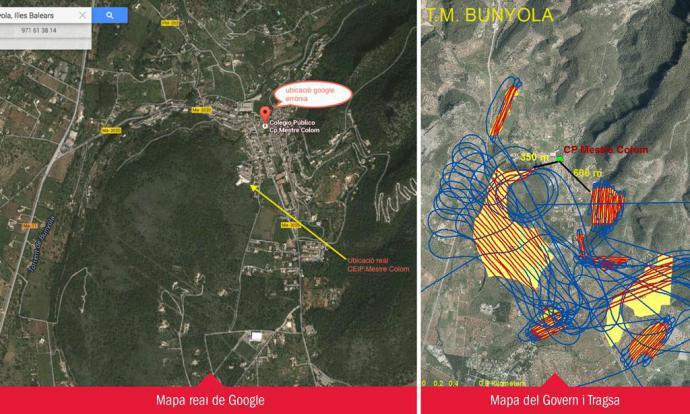Imatge de l'esquerra facilitada per l'Amipa del centre bunyolí, amb la ubicació real de l'escola. A la dreta, mapa aportat per Medi Ambient i l'empresa de fumigació. El blau són les maniobres de l'avioneta i en vermell la zona on va llençar el producte de fumigació.  Diari de Balears